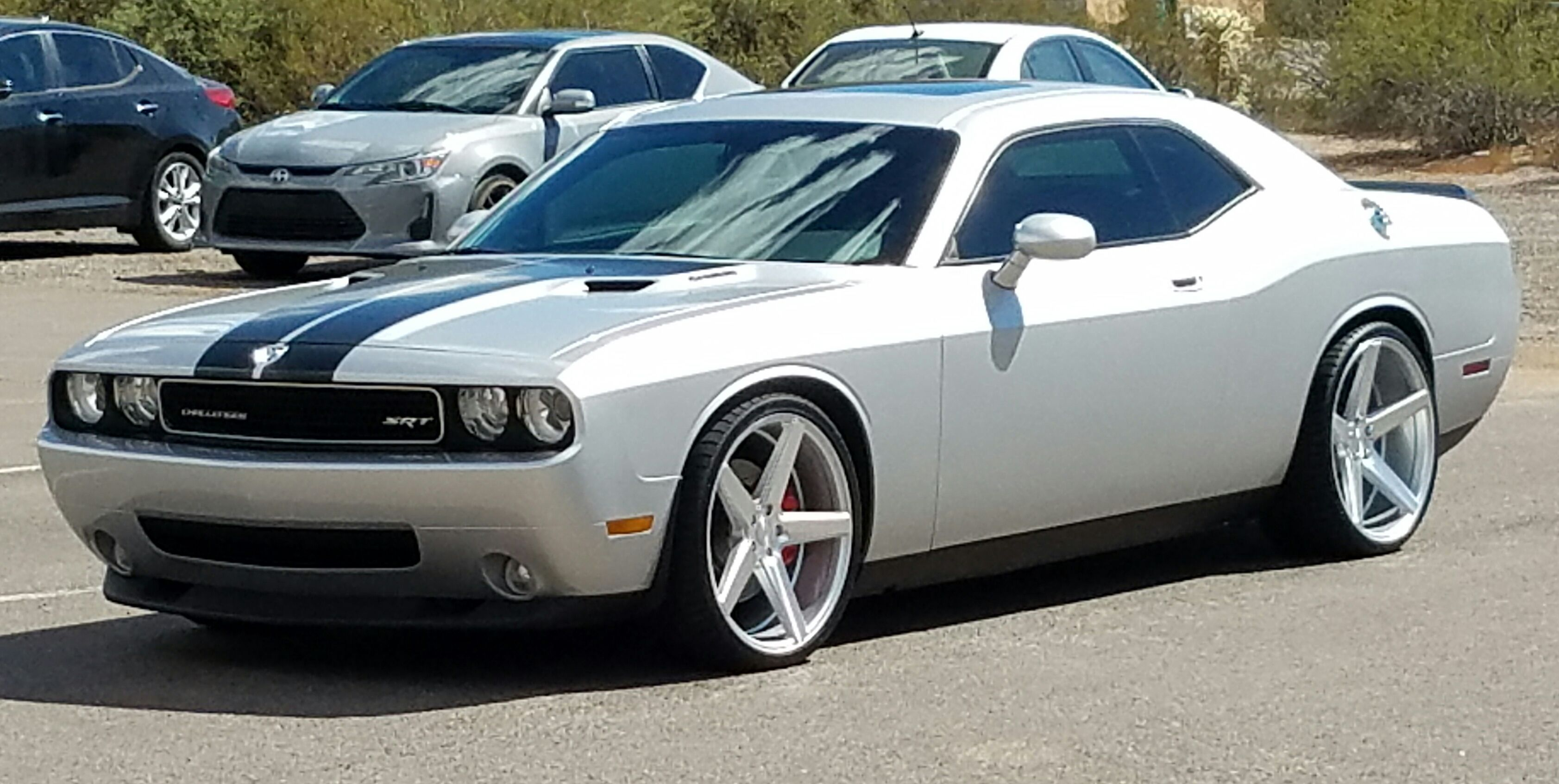 Silver 2009 Dodge Challenger Srt8 Kmc District Wheels 22 Inch