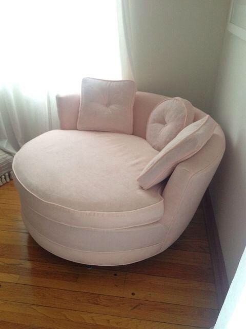 Round Loveseat in Pink Velvet on Chairishcom  Decor in