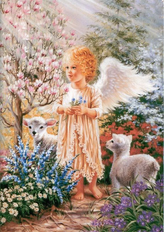 Dona Gelsinger Art | Dona Gelsinger - angel & lambs mirror(567×800)