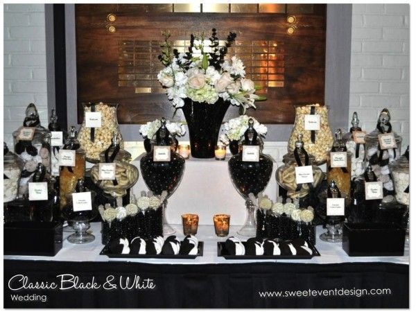 Image Result For Black White And Gold Candy Table Black Candy Buffet Candy Bar Wedding White Candy Bars