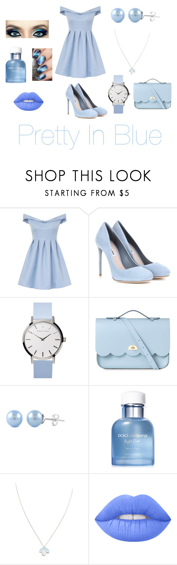 """""""Pretty In Blue 💙"""" by jazzrodgers ❤ liked on Polyvore featuring Chi Chi, Miu Miu, The Cambridge Satchel Company, Dolce&Gabbana, Wolf & Moon and Lime Crime"""