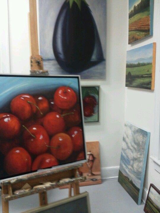 Inside the studio of artist Marion Grant at NUArts Gallery & Studios upstreet. #Berkshires