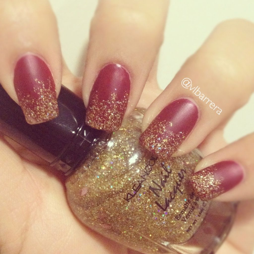 matte red nails and gold glitter gradient. Orly - Forever Crimson ...
