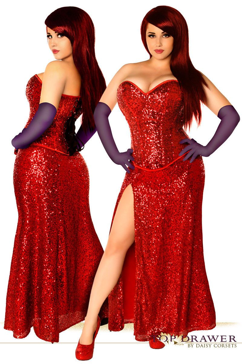 2ab48b0dc7 Miss Jessica ~ Red Sequin Jessica Rabbit Corset Costume Gown all sizes to  Plus  valentines