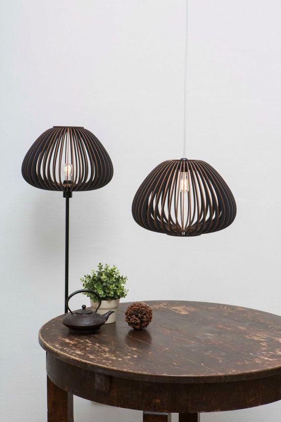 Wood lamp shade / dark lampshade / dark lamp shade / dark wood ...