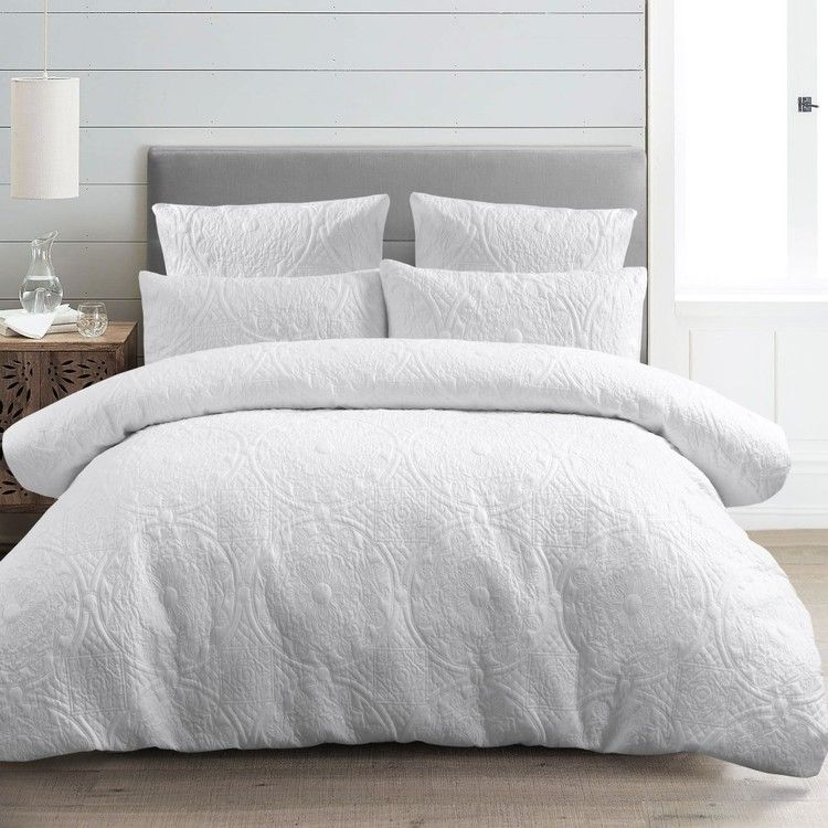 Koo Victoria Quilted Quilt Cover Set White King Bedroom Interior Single Size Bed Quilt Cover Sets