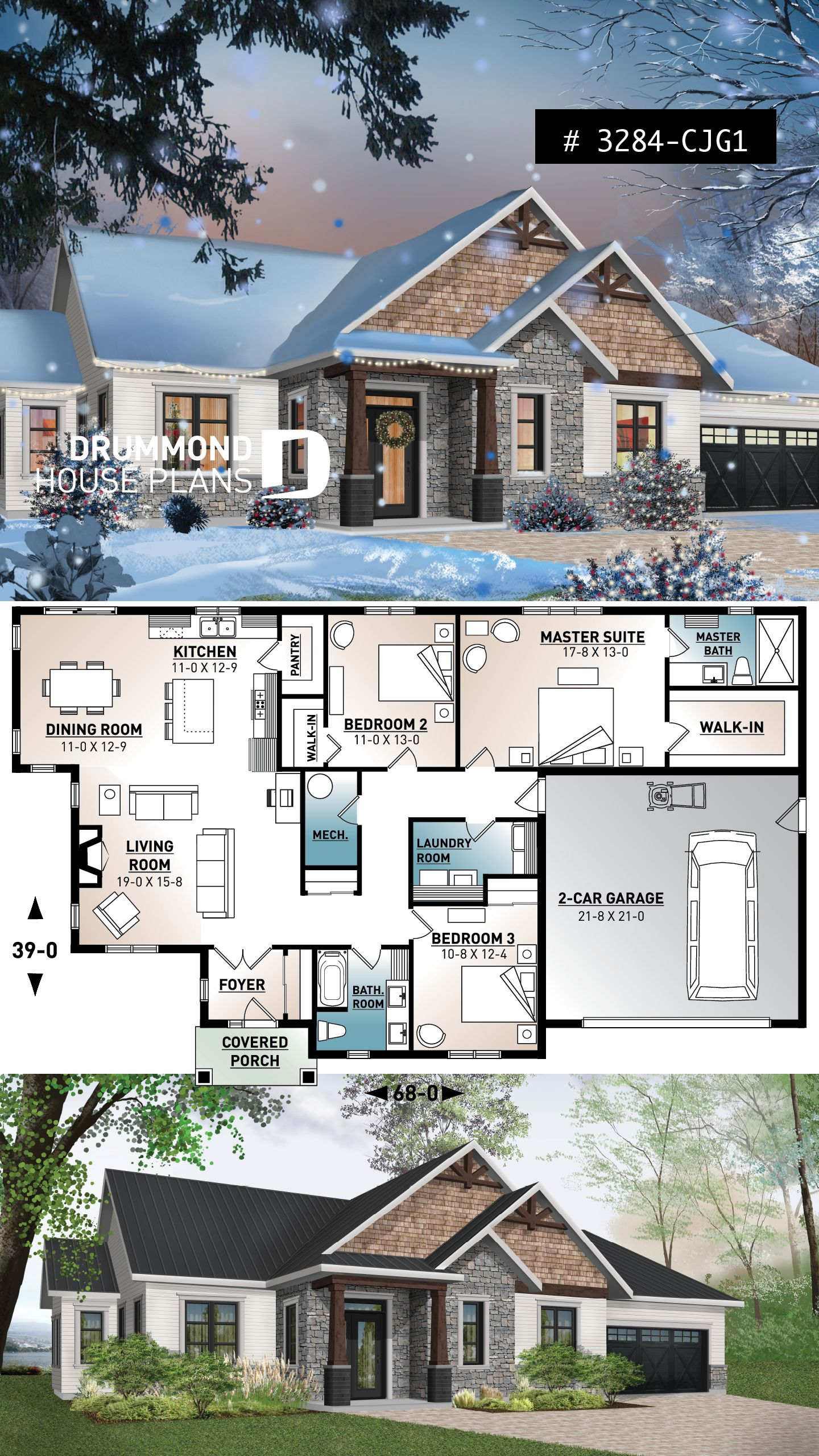 3 bedroom home plan, 9′ ceiling, large master suite, open layout, pantry, fireplace, laundry room – Craftsman & Northwest Home Designs