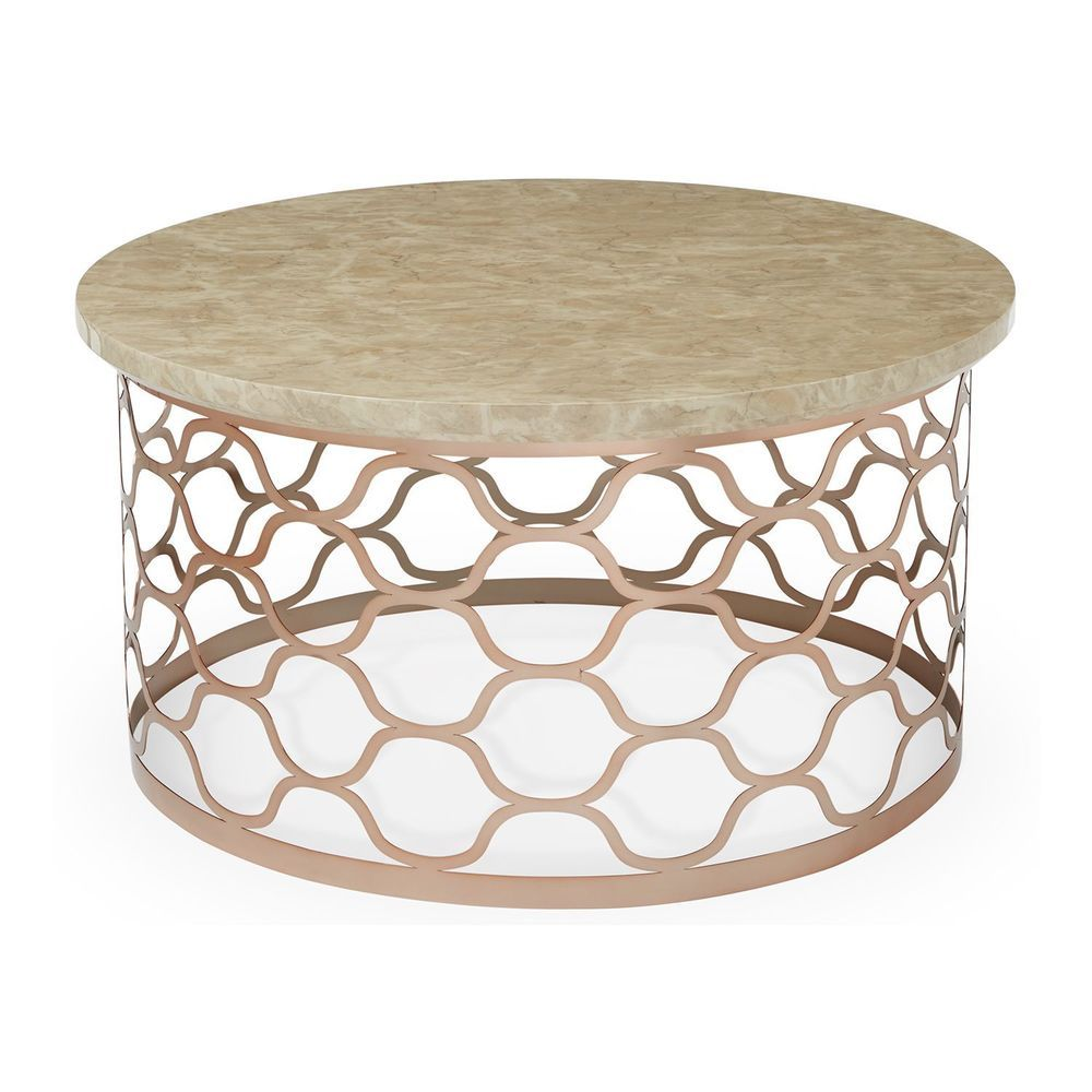 Best Marble Round Coffee Table Beige Color Rose Gold Metal Base 400 x 300