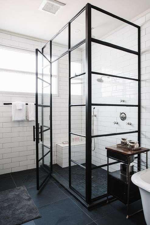 Bagno in stile industriale - Vetrate per la doccia industriale ...
