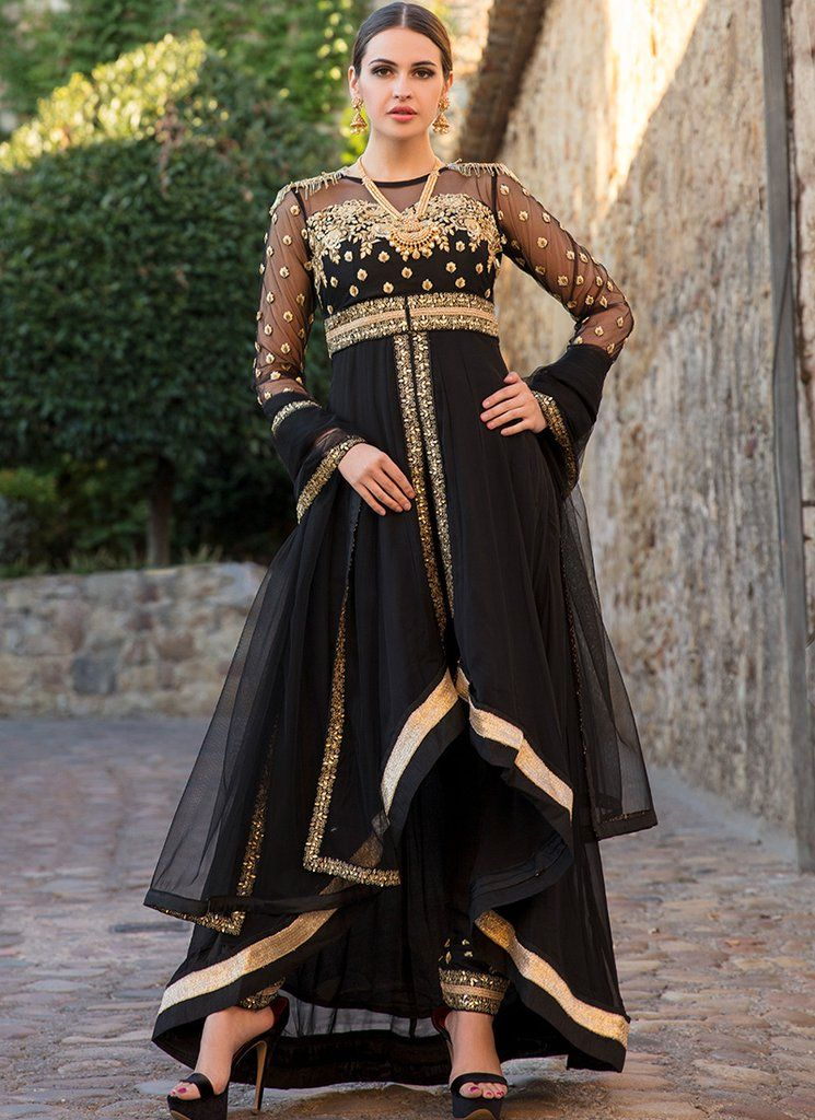 62d5bee81e Black and Gold Embroidered Pant Style Anarkali in 2019 | Pint ...