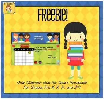 Freebie Daily Calendar File For Smart Board  St Grade