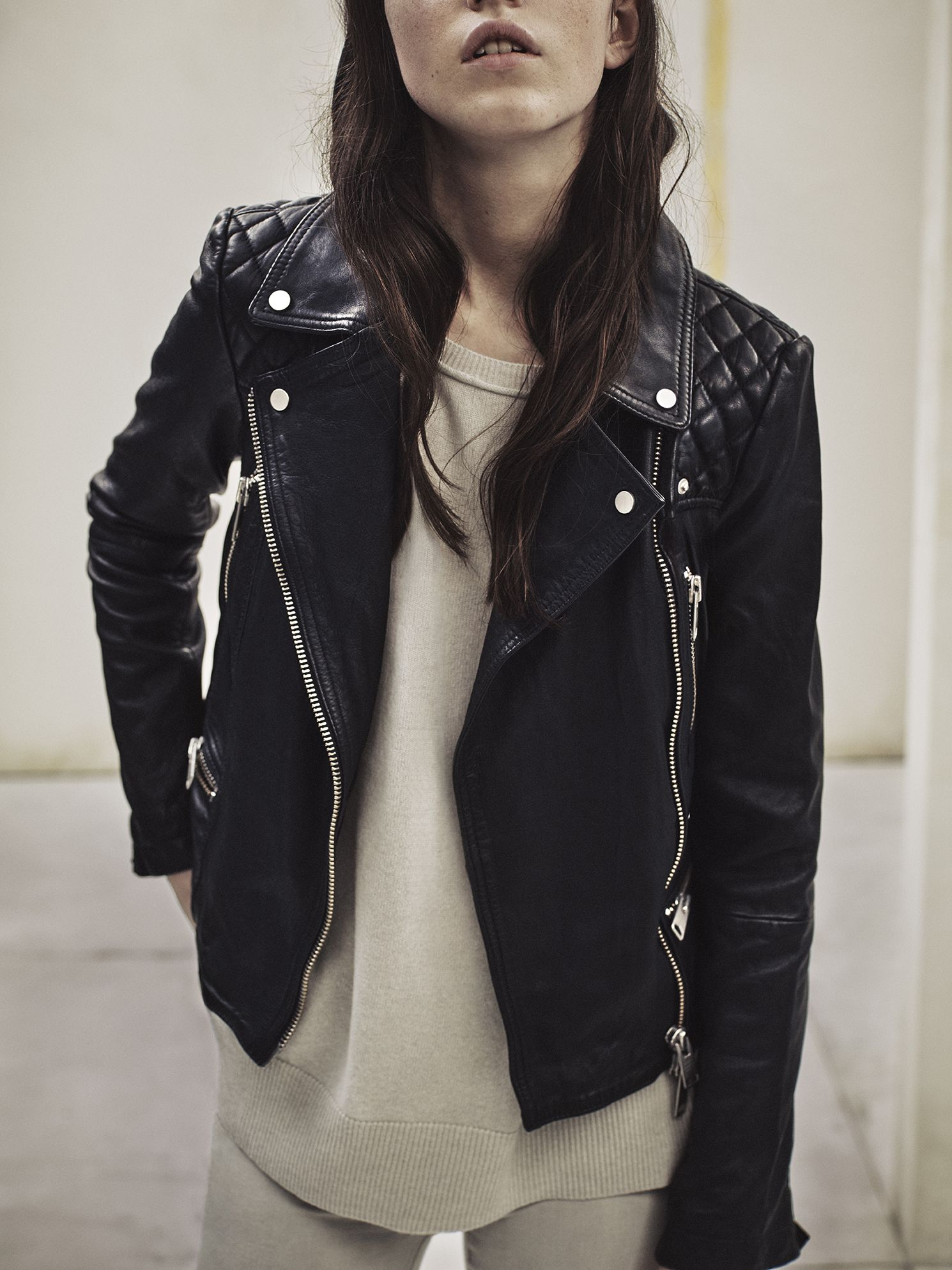 Allsaints New Arrivals The Bleeker Leather Biker Char Jumper And Grace Jeans Leather Leather Jackets Women All Saints Leather Jacket Leather Jacket Style [ 1987 x 1490 Pixel ]