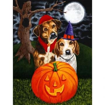 5d Diamond Painting Halloween Moon Night Hat Dog Paint With Diamonds Art Crystal Craft Decor In 2020 Dog Canvas Art Halloween Art Halloween Moon