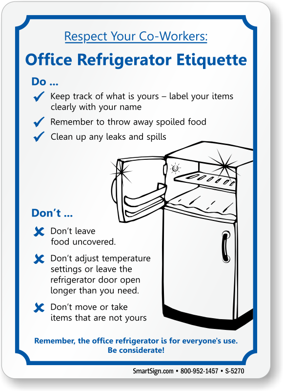 Office Refrigerator Etiquette, Fridge Cleanup Sign, SKU: S