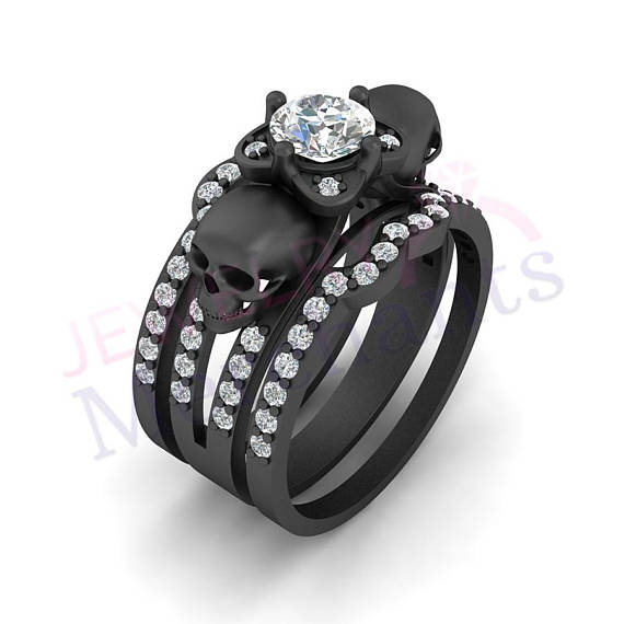 2.50Ct Black Diamond Skull Engagement Wedding Ring Set In 14K White Gold Finish