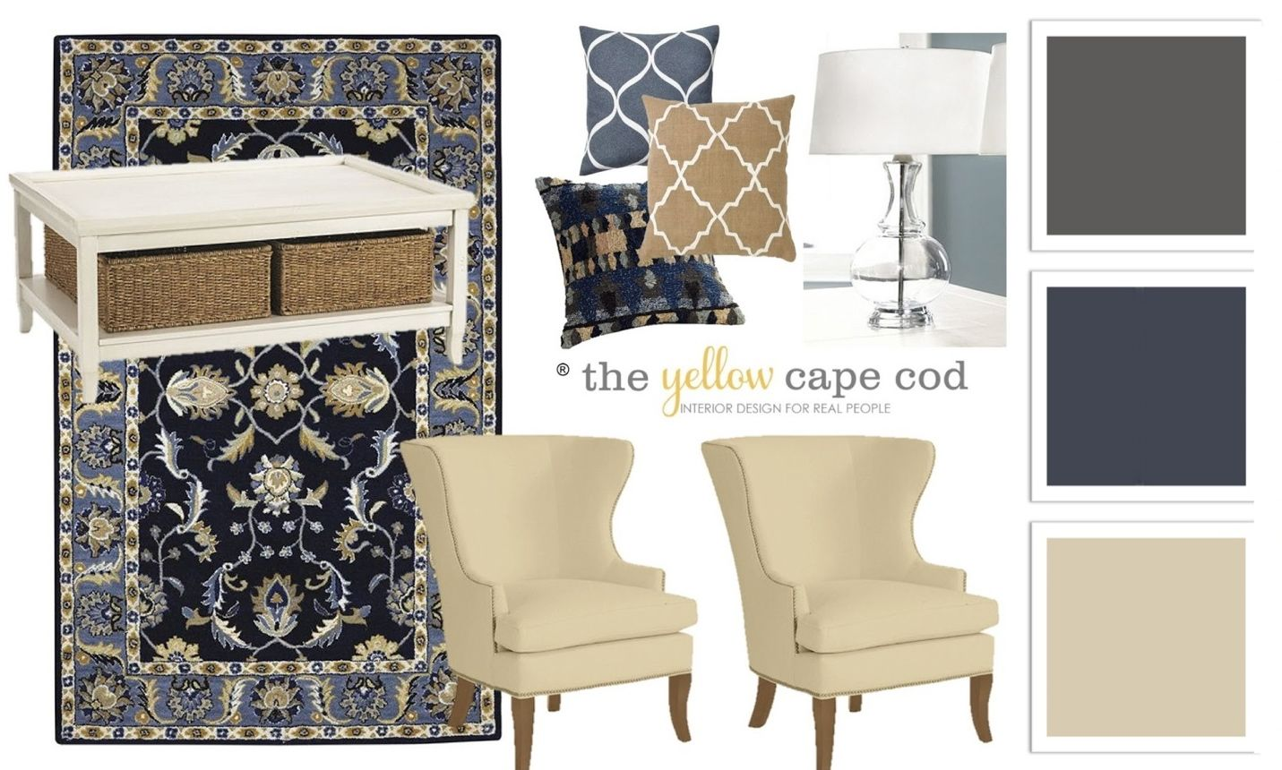 Blue Beige And Charcoal Family Room The Yellow Cape Cod