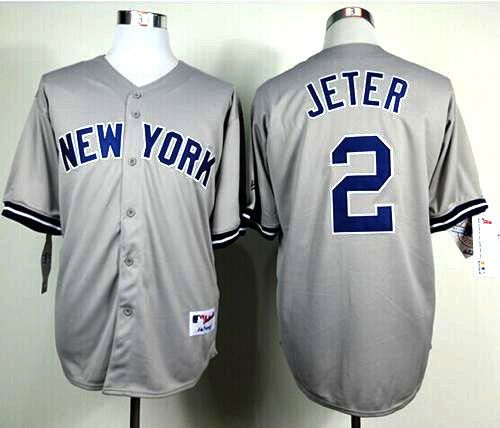 Derek Jeter 2 New York Yankees Away Jersey Grey New York Yankees Derek Jeter New York