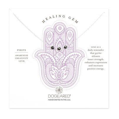 healing gem triple pyrite necklace, sterling silver