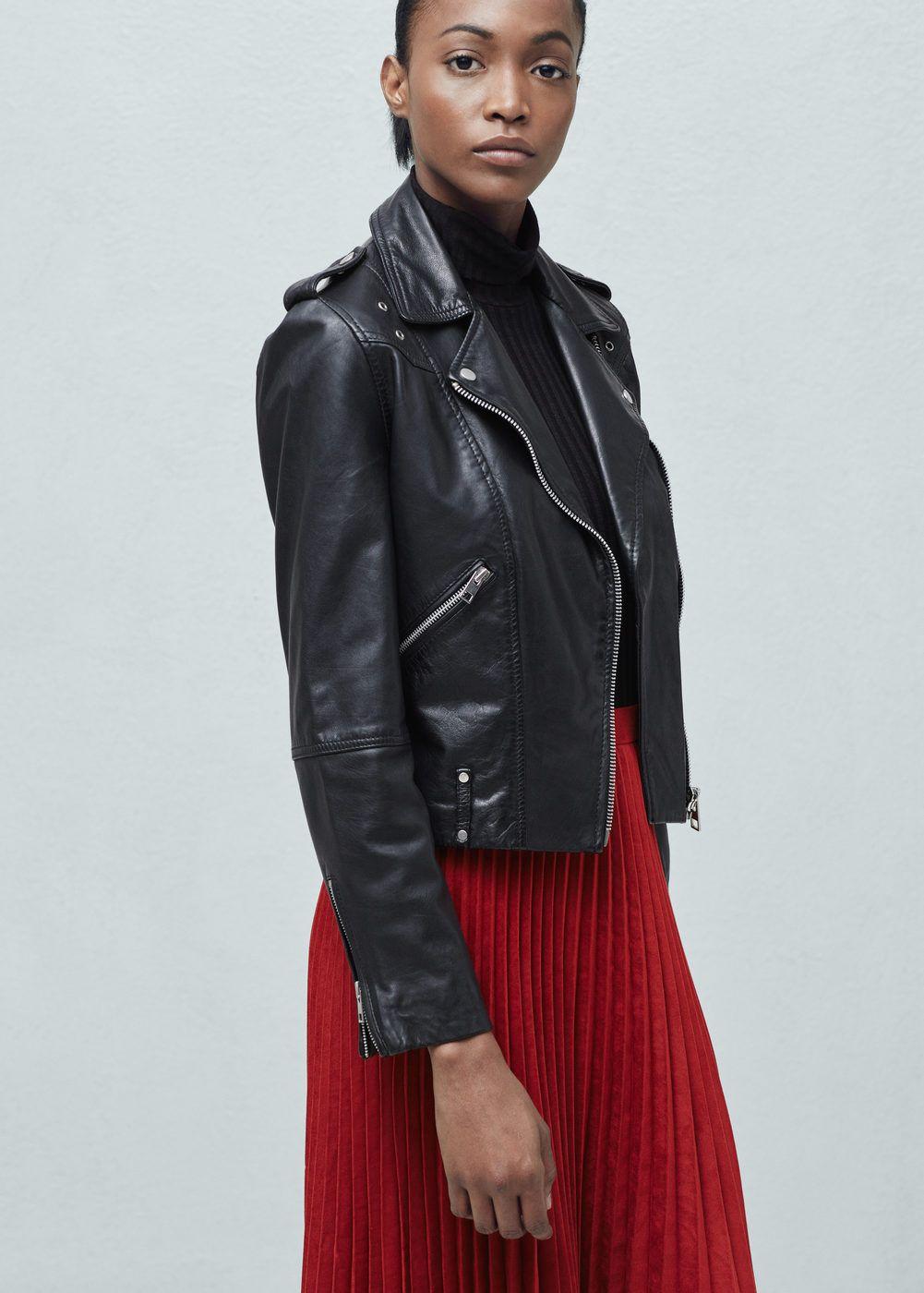 Leren jas met ritsen - Jasjes voor Dames | MANGO | The kaki one <3