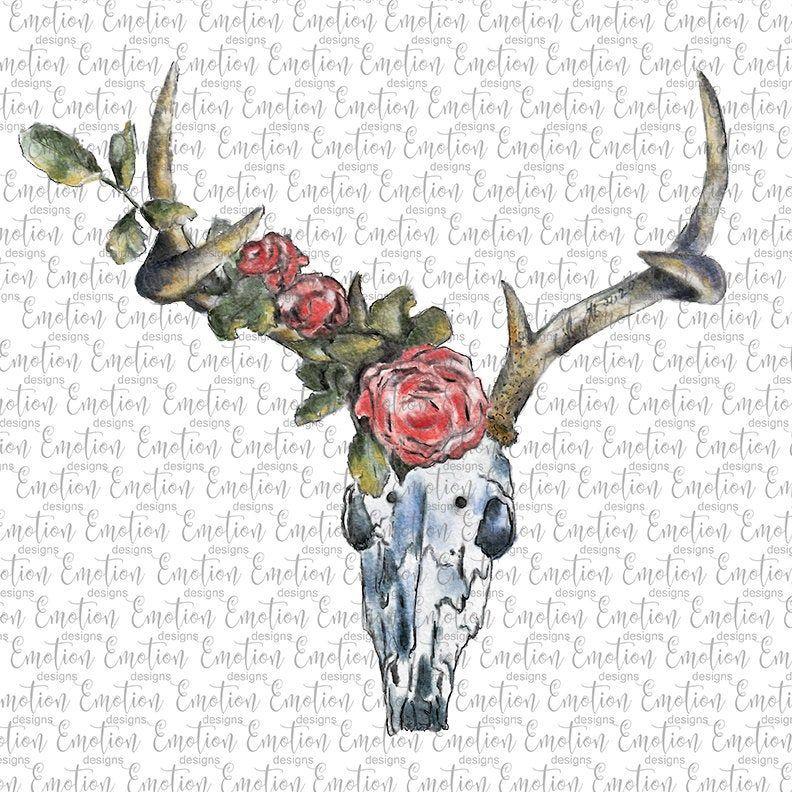 Hand Drawn Deer Skull Png Watercolor Instant Download Etsy How To Draw Hands Deer Skulls Watercolor Deer