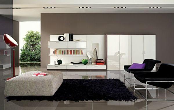 Moderne Möbel Und Graue Wandfarbe Im Wohnzimmer   Wohnzimmer Streichen U2013  106 Inspirierende Ideen