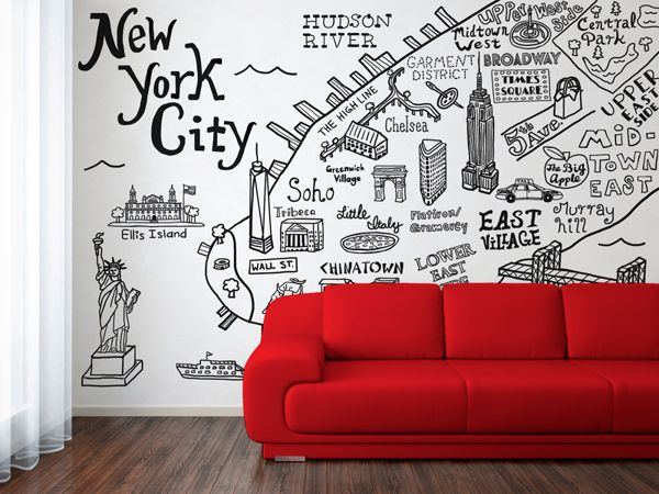 new york city map illustration wall decalclaire lordon, via
