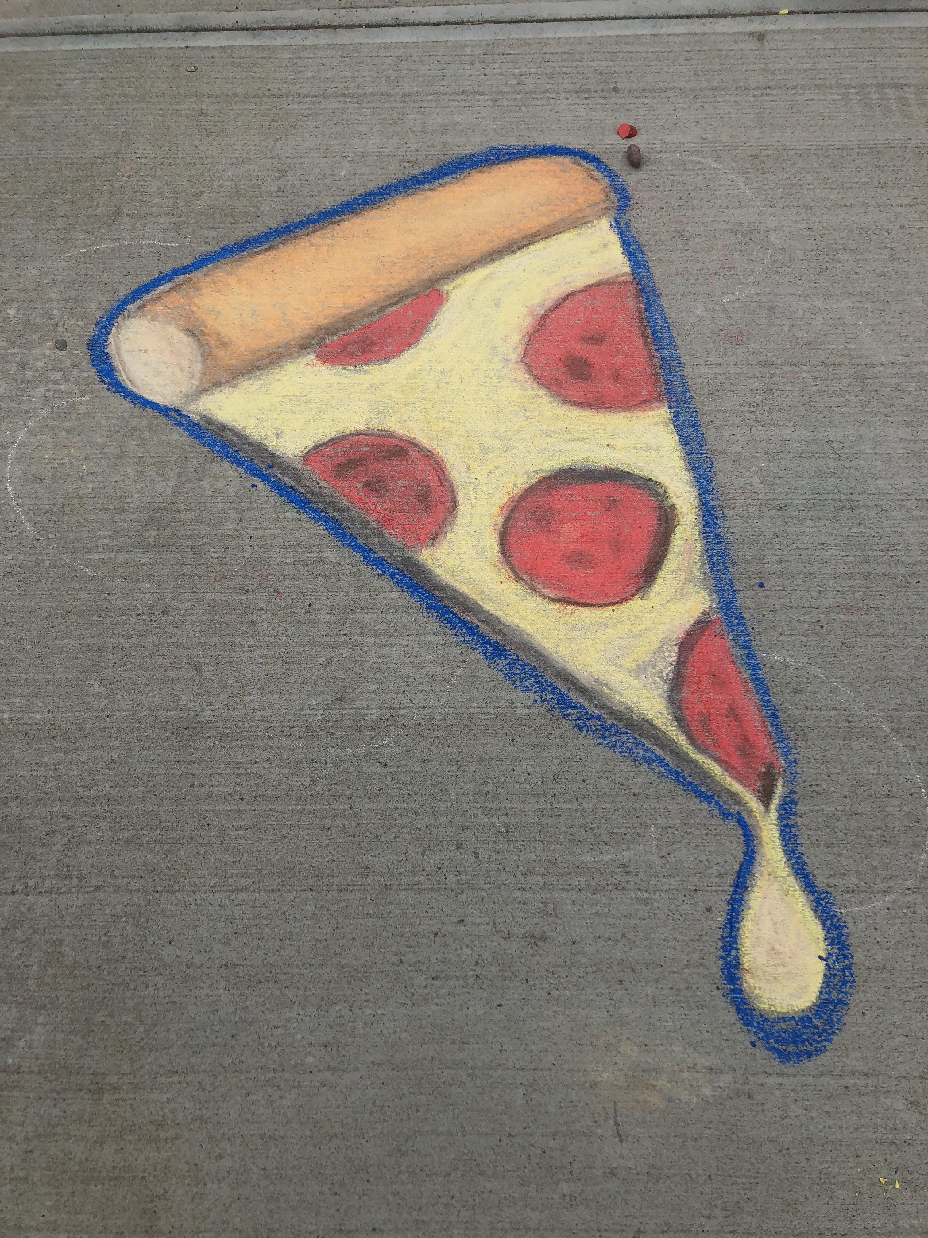 Pizza Collaboration With The Kids Sidewalk Chalk Sidewalk Chalk