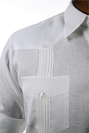 Guayabera David In White Linen Details Shirts With Pockets Custom Shirt
