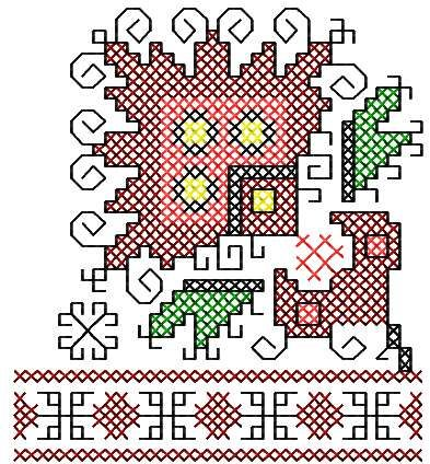 Abstract Decoration Cross Stitch Free Embroidery Design Cross
