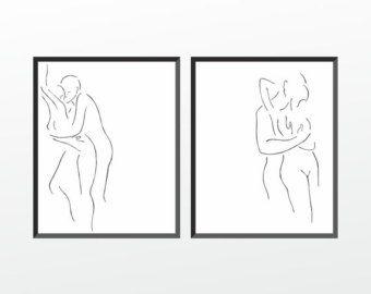 Minimalist drawing. Black and white nude figure. Original от siret