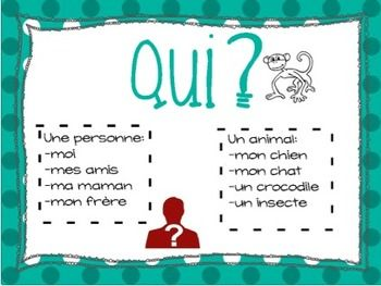 French ws and  anchor chart set also affiches de questions rh pinterest