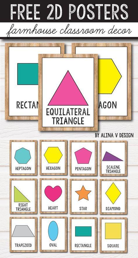 FREE 2D Shape Posters - 3D Shape Posters - Farmhouse Classroom Decor