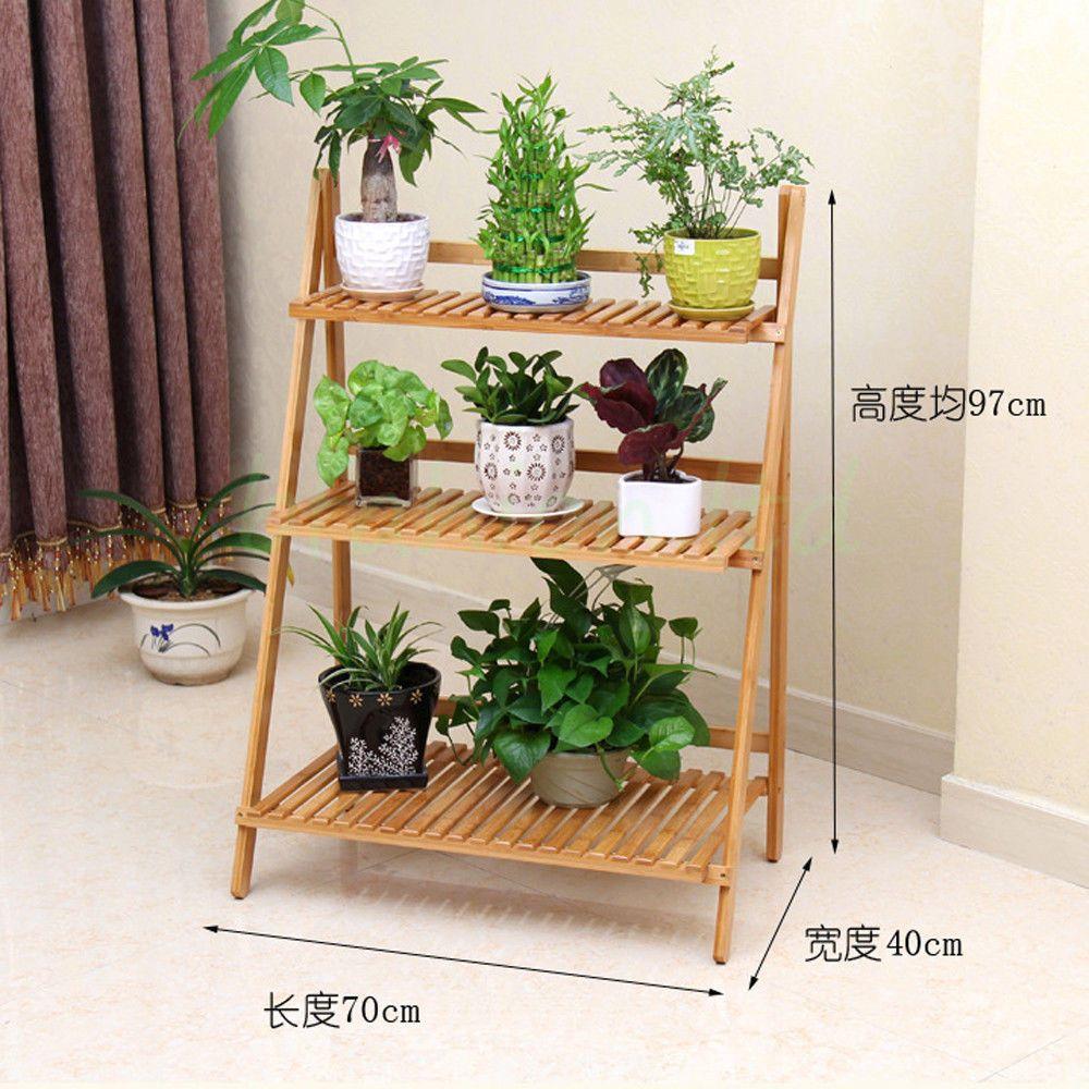 Flower Pot Stand 3 Tier Shelves Display Holder Wooden For Ladder Planter Garden Ebay
