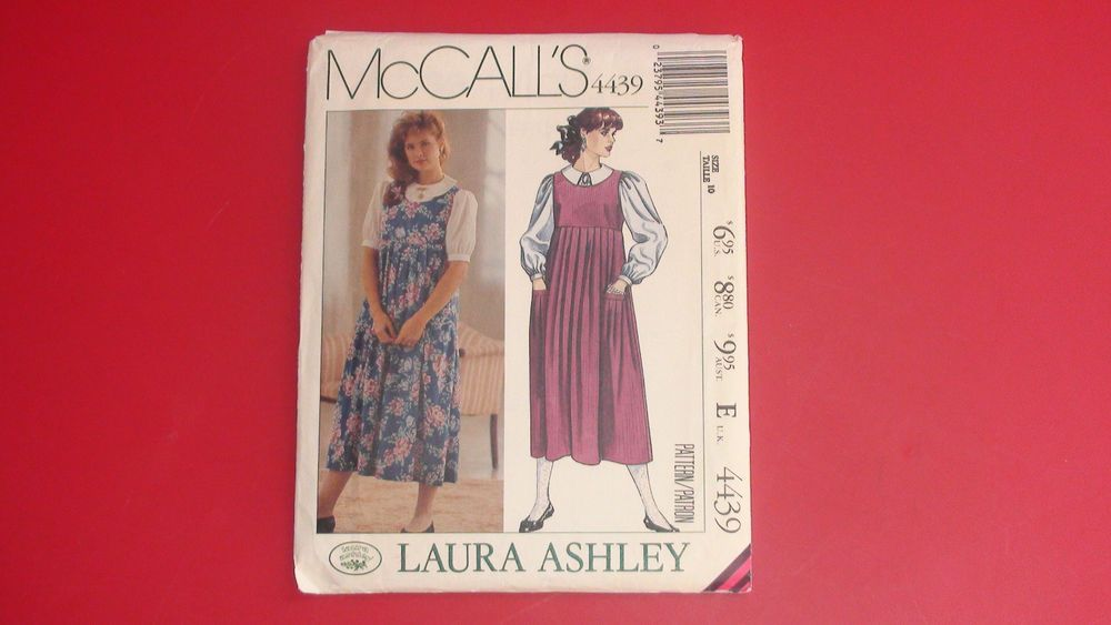 1989 McCall's Sewing Pattern 4439 size 10 Laura Ashley Misses' Jumper and Blouse