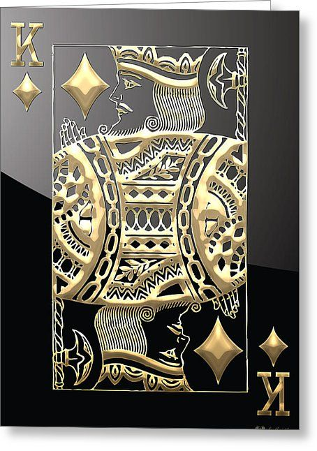 King Of Diamonds In Gold On Black By Serge Averbukh In 2021 Playing Cards Art Gold Playing Cards Ace Card