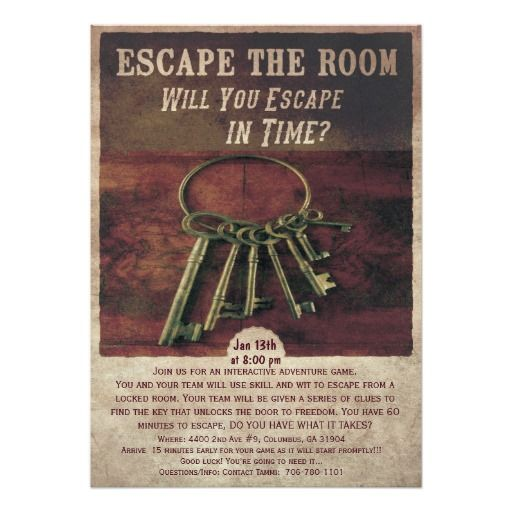Escape room party invitation birthdays fiftieth for Escape room party