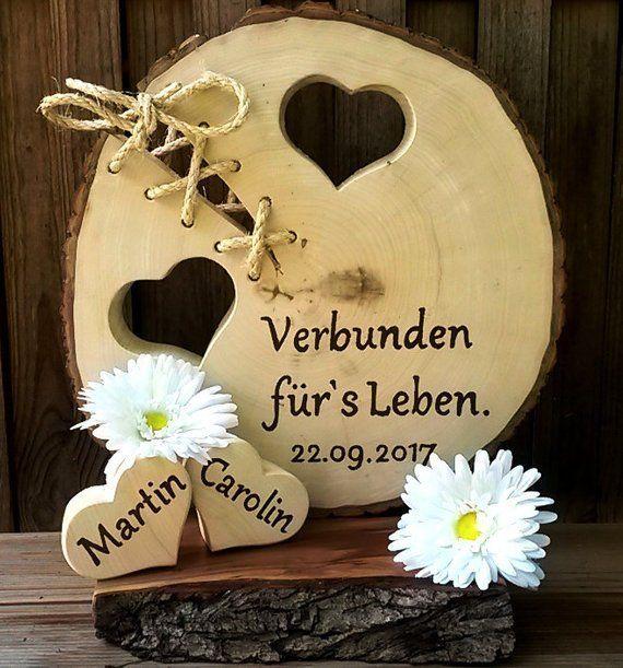Hochzeit Verbunden fürs Leben Baumscheibe 2 Herzen Namen Datum personalisierbar Gastgeschenk Liebe Geschenk Holz - Frisure #personalizedweddingfavors