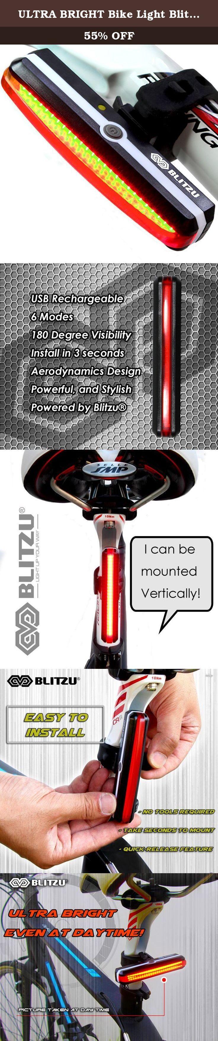 BLITZU Ultra Bright Bike Light Cyborg 168T USB Rechargeable Bicycle Tail Ligh...