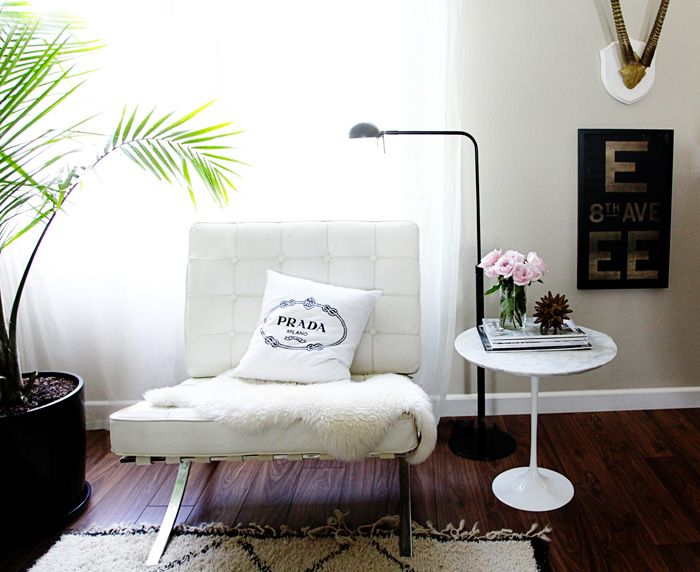 Small Shop For Adore Home Photo By Sabra Lattos Living Room Barcelona Chair  Sheepskin Prada Pillow