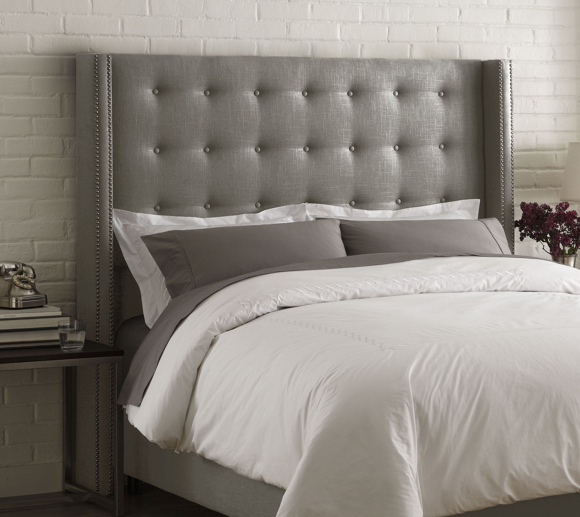 Skyline Furniture Nail Button Tufted Wingback Headboard - Grey ...