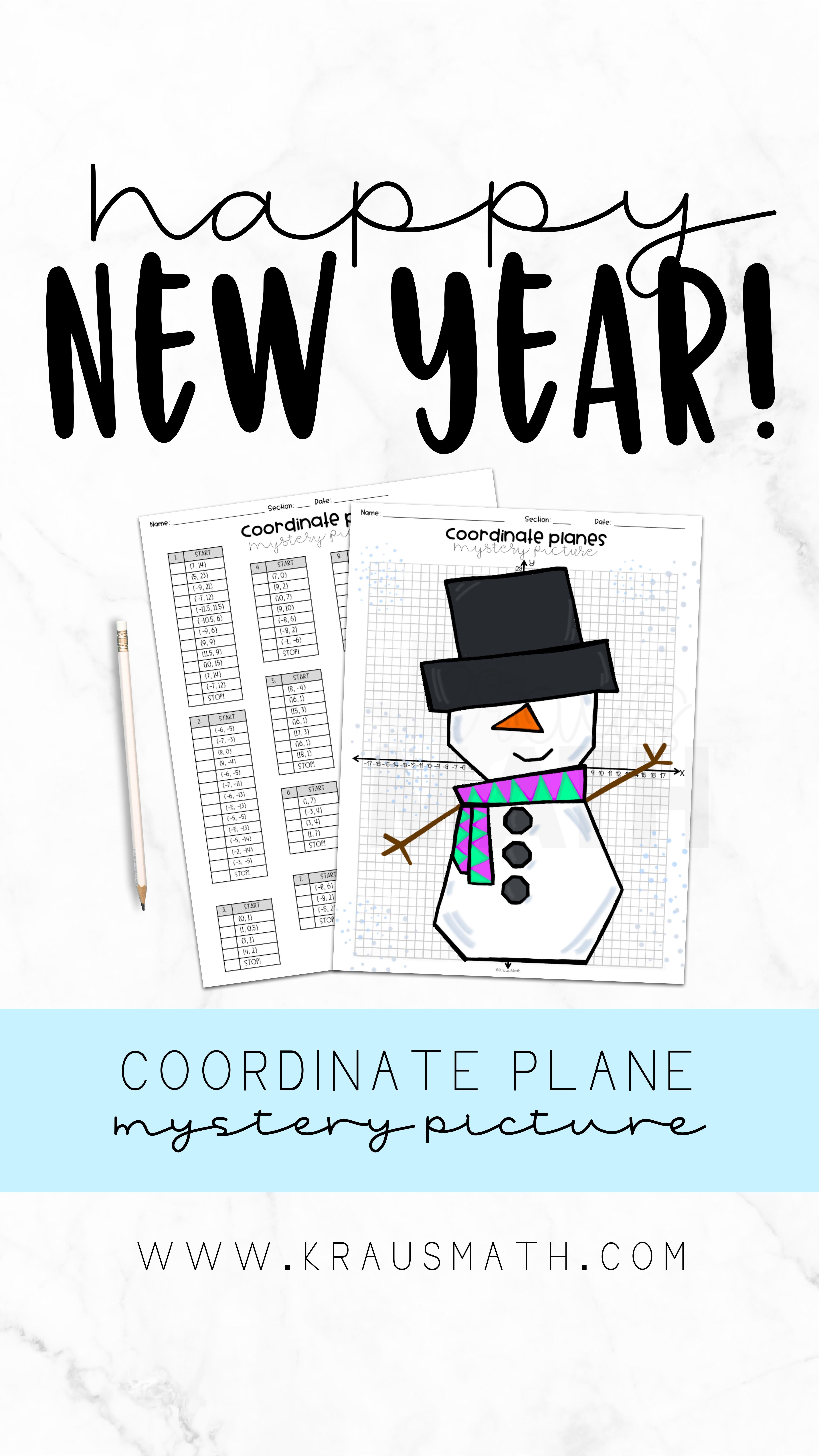 Snowman Coordinate Plane Mystery Picture 4 Quadrants