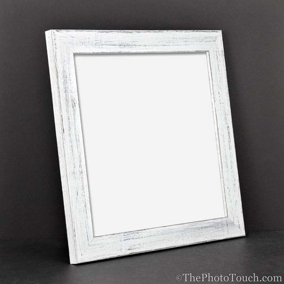 White Rustic Picture Frame, Distressed Wood Picture Frames Wall ...