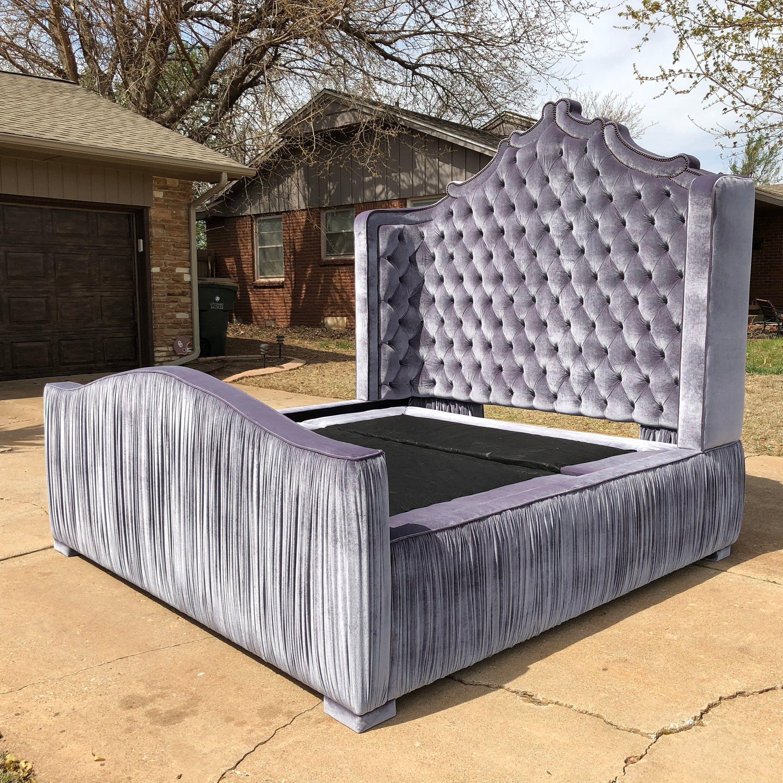 wood frame bed with backboard design Platform bed