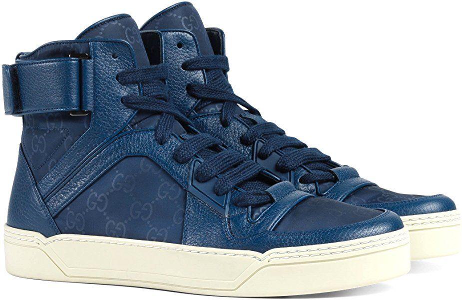 c58deff95 Amazon.com: Gucci Men's Nylon Guccissima High-Top Sneaker, Blue 409766 (10  US / 9.5 UK): Shoes