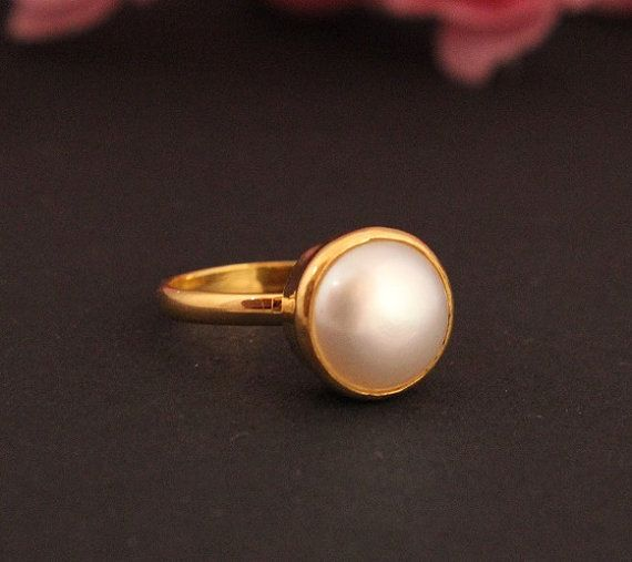 22k Gold ring Pearl ring Wedding ring Engagement ring Gift