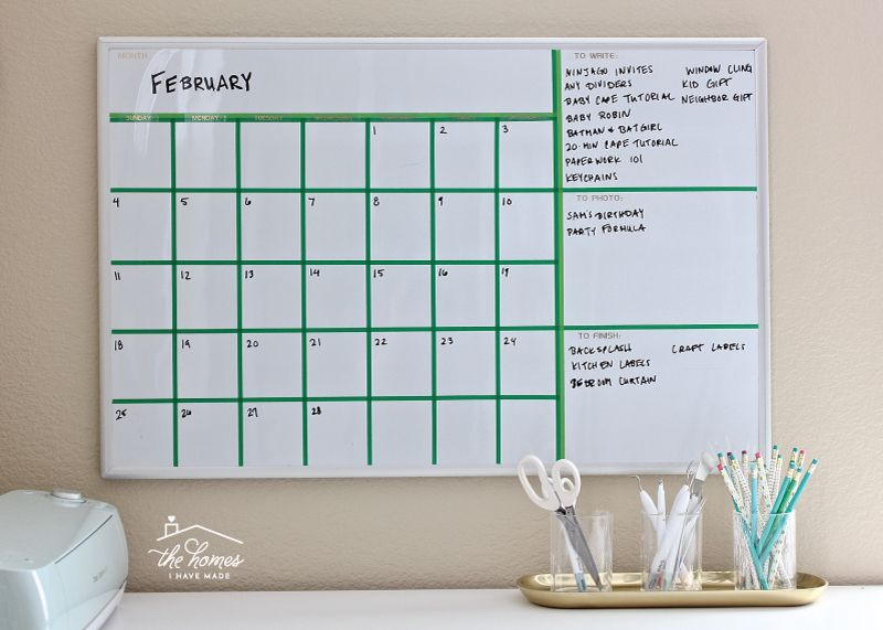 Create your own dryerase calendar with washi tape dry