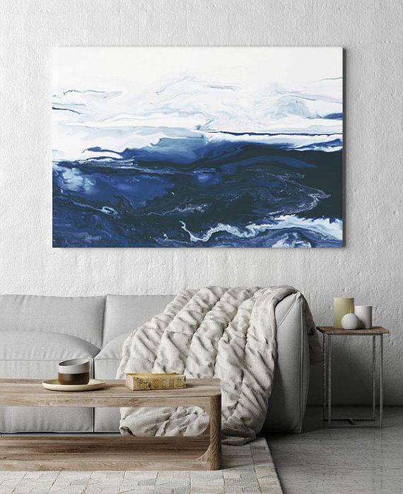 Abstract Art Large Canvas Print Art Print Canvas Art Navy Blue And White Fluid Art Home Decor W Navy Blue Art Canvases Blue Abstract Art Large Scale Art