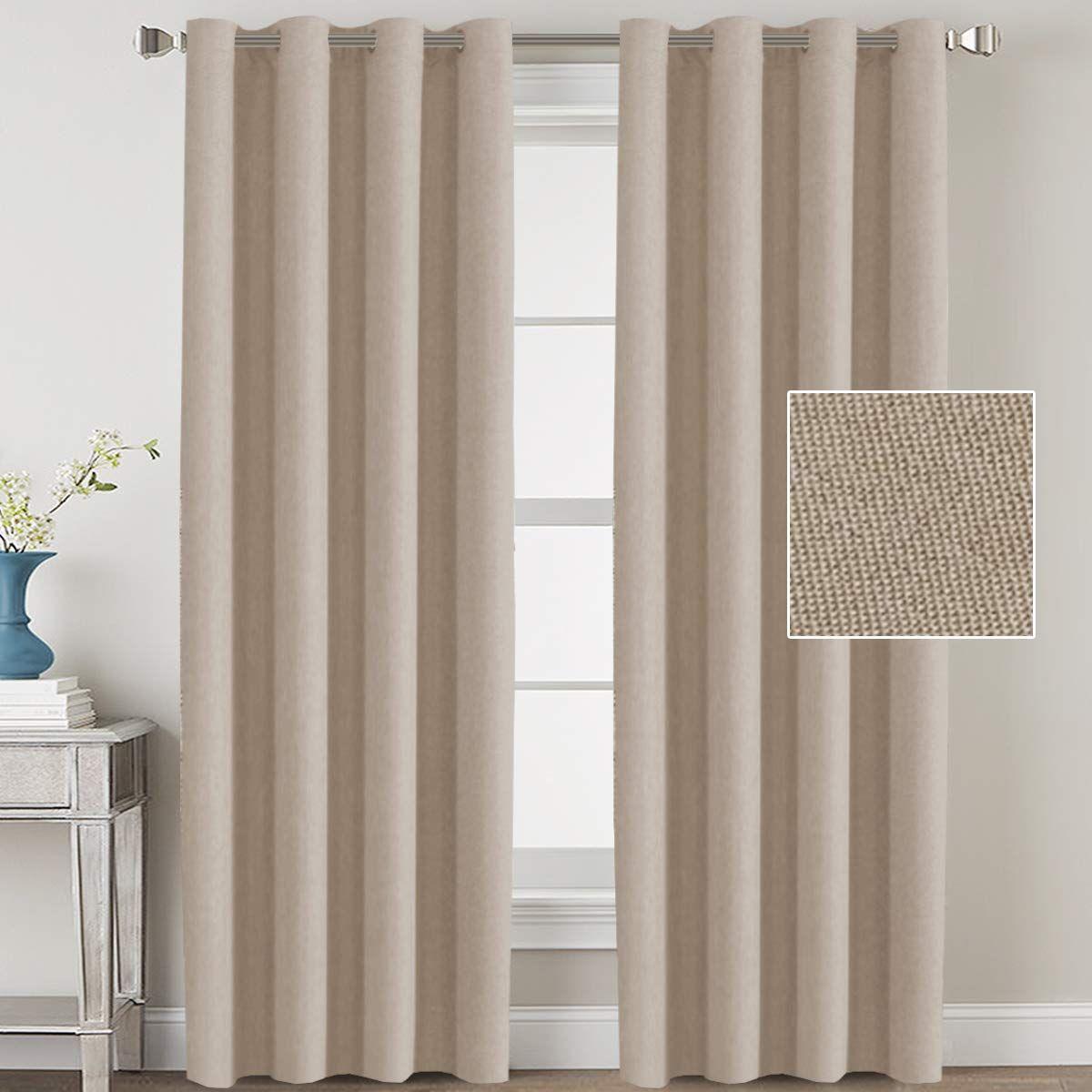 H Versailtex Linen Blackout Curtains 84 Inches Long Room Darkening Heavy Duty Burlap Efffect Textured L Linen Blackout Curtains Curtains Curtains And Draperies