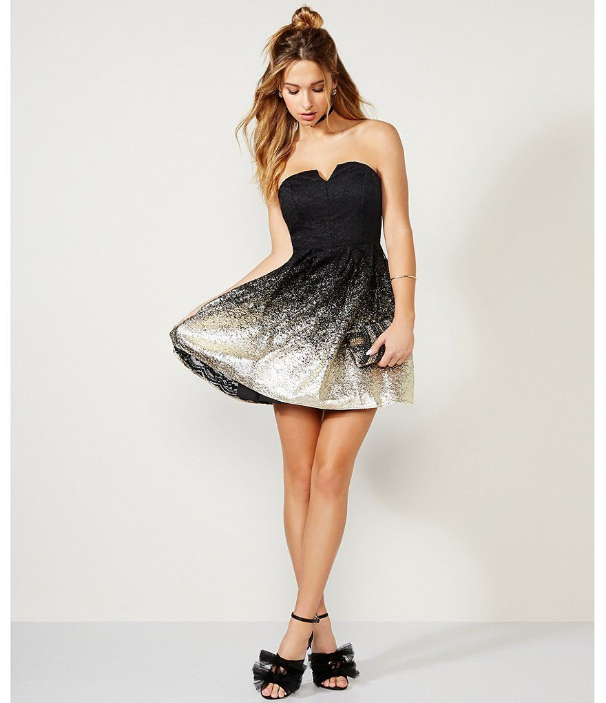 Black Gold B Darlin Strapless Foil Lace Fit And Flare