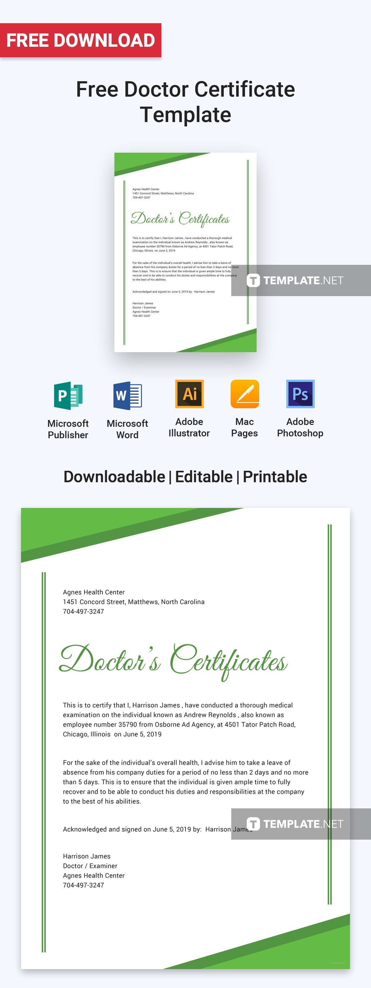 Free Doctor Certificate   Certificate and Template